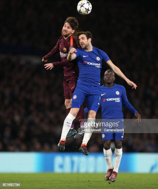 Barcelona's Lionel Messi and Chelsea's Cesc Fabregas during the UEFA Champions League Round of 16 First Leg match between Chelsea FC and FC Barcelona...
