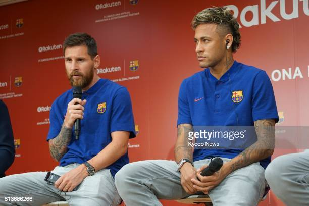 FC Barcelona's Lionel Messi and Neymar attend a press conference at Rakuten Inc's Tokyo headquarters on July 13 2017 The ecommerce firm has signed a...