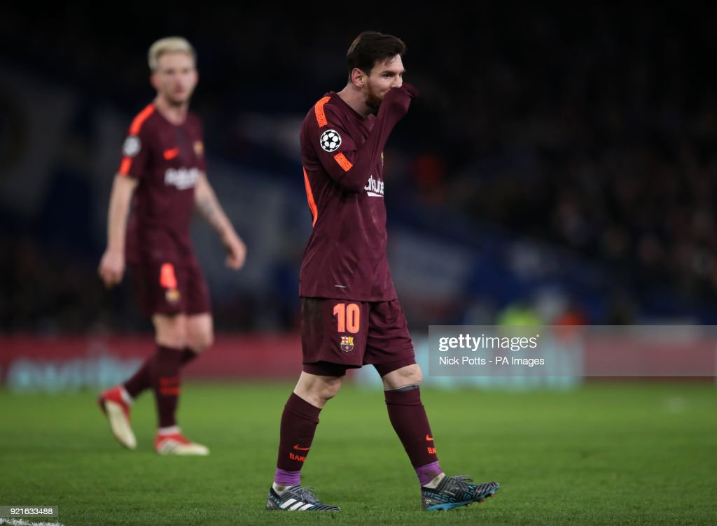 Barcelona's Lionel Messi appears dejected during the UEFA Champions League round of sixteen, first leg match at Stamford Bridge, London. PRESS ASSOCIATION Photo. Picture date: Tuesday February 20, 2018. See PA story SOCCER Chelsea. Photo credit should read: Nick Potts/PA Wire