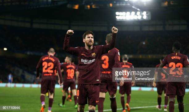 Barcelona's Lionel Messi celebrates scoring his side's first goal during the UEFA Champions League Round of 16 First Leg match between Chelsea FC and...