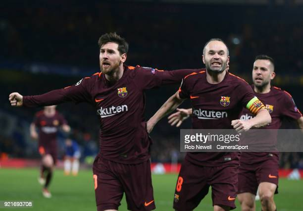 Barcelona's Lionel Messi celebrates scoring his side's first goal with Andres Iniesta during the UEFA Champions League Round of 16 First Leg match...