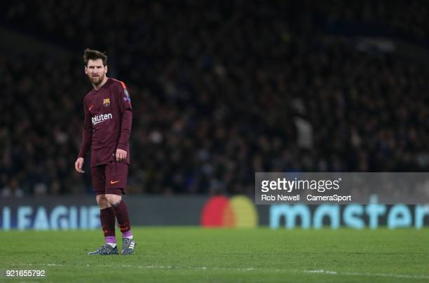 Barcelona's Lionel Messi during the UEFA Champions League Round of 16 First Leg match between Chelsea FC and FC Barcelona at Stamford Bridge on...