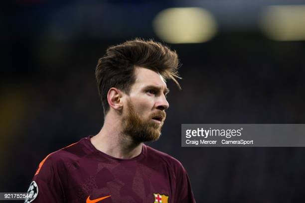 Barcelonas Lionel Messi during the UEFA Champions League Round of 16 First Leg match between Chelsea FC and FC Barcelona at Stamford Bridge on...