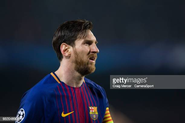 Barcelonas Lionel Messi during the UEFA Champions League Round of 16 Second Leg match FC Barcelona and Chelsea FC at Camp Nou on March 14, 2018 in...