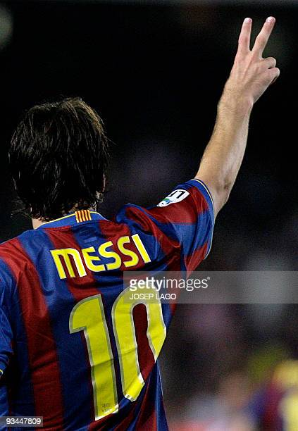 Barcelona's Lionel Messi from Argentina celebrates his goal during their Spanish Supercup second leg football match Barcelona vs Athletic Bilbao at...