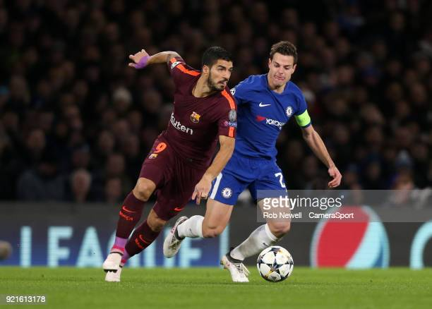 Barcelona's Luis Suarez and Chelsea's Cesar Azpilicueta during the UEFA Champions League Round of 16 First Leg match between Chelsea FC and FC...