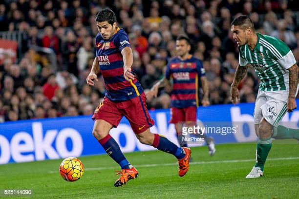 Barcelona Catalonia Spain December 30 Barcelona's Luis Suarez in action during the spanish football league between FC Barcelona and Real Betis...