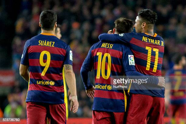 Barcelona's Luis Suarez Messi and Neymar Jr cellebrating togheter one score during the spanish football league between FC Barcelona and Sporting de...