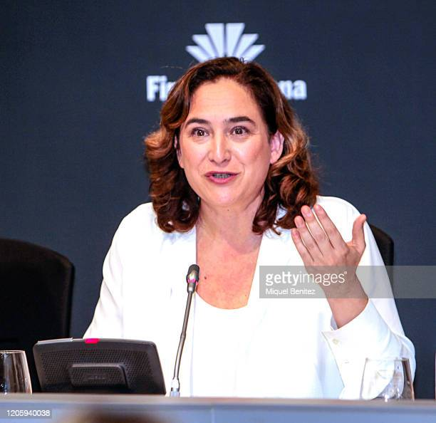 Barcelona's Major Ada Colau attends the Mobile World Congress 2020 Press Conference on February 13, 2020 in Barcelona, Spain. They had cancelled the...
