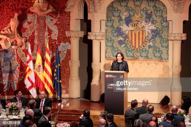 Barcelona's Major Ada Colau gives a speech during the official dinner of the Mobile World Congress 2018 at Palau de la Musica on February 25 2018 in...