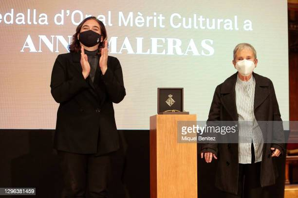 Barcelona's Mayor Ada Colau and Dancer and choreographer Anna Maleras receives her the Gold Medal for Cultural Merit at Barcelona City Hall on...