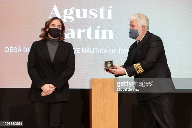 Barcelona's Mayor Ada Colau and Dean of the Nautical Faculty of Barcelona and Captain of the Merchant Navy Agusti Martin receives a Gold Medal for...