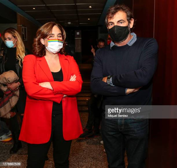Barcelona's Mayor Ada Colau and Oscar Camps, founder and director of NGO Open Arms attend the premiere of 'Cartas Mojadas', 'Drowning Letters' at...