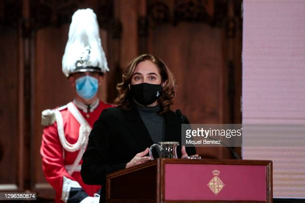 Barcelona's Mayor Ada Colau attends the Gold Medal Ceremony at Barcelona City Hall on January 14, 2021 in Barcelona, Spain.