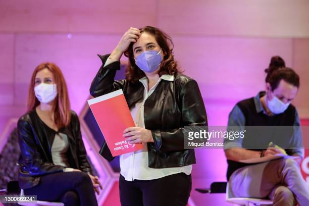 Barcelona's Mayor Ada Colau attends the rally of the political party En Comú Podem for the Catalan electoral campaign via streaming at the Auditori...
