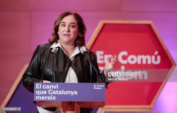 Barcelona's Mayor Ada Colau gives her speech during the rally of the political party En Comú Podem for the Catalan electoral campaign via streaming...
