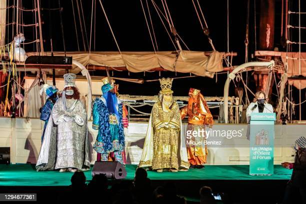 Barcelona's Mayor Ada Colau offers her speech to The Three Wise Men on board of Pailebot, sailboat Santa Eulalia at Forum Port on January 05, 2021 in...