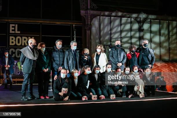 Barcelona's Mayor Ada Colau , Sol Pico and Dancers from Sol Pico company attend during Christmas Lights Inauguration next to the El Born Comercial...
