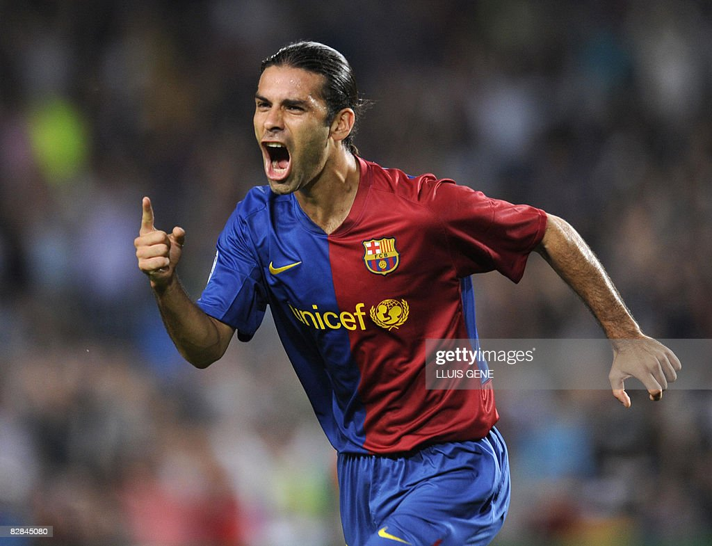 Barcelona's Mexican Rafael Marquez celebrates after scoring against Sporting Lisboa during a Champions League, Group C, football match at the Camp Nou stadium on September 16, 2008 in Barcelona.
