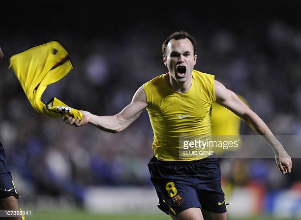 Barcelona´s midfielder Andrés Iniesta celebrates a goal against Chelsea during their Champions League semifinal secondleg match against at the...