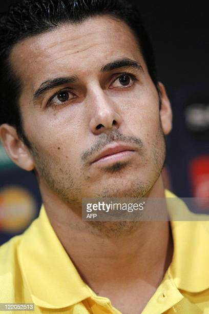 Barcelona's midfielder Pedro Rodriguez attends a press conference on August 25 2011 in Monaco on the eve of the UEFA Super Cup football match FC...