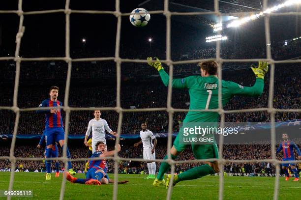 Barcelona's midfielder Sergi Roberto scores a goal during the UEFA Champions League round of 16 second leg football match FC Barcelona vs Paris...