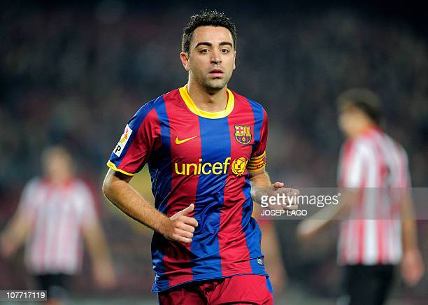 Barcelona's midfielder Xavi Hernandez gestures during the Spanish King's Cup football match Barcelona FC vs Athletic Bilbao on December 21 2010 at...