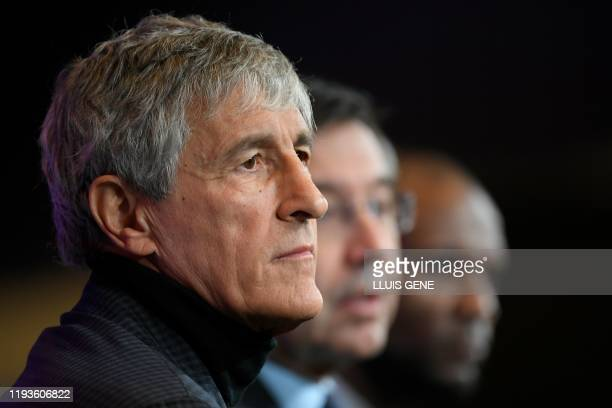 Barcelona's new coach Quique Setien gives a press conference during his official presentation in Barcelona on January 14 after signing his new...
