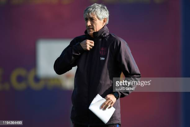Barcelona's new coach Spaniard Quique Setien attends a training session at the Joan Gamper Sports City training ground in Sant Joan Despi on January...