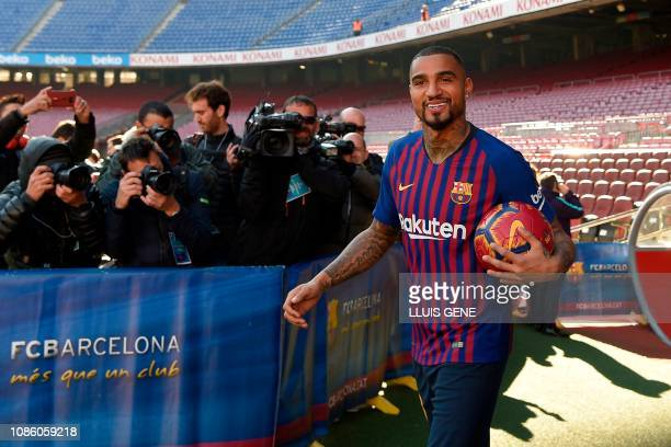 Barcelona's new Ghanaian forward KevinPrince Boateng arrives for his official presentation at the Camp Nou stadium in Barcelona on January 22 2019...