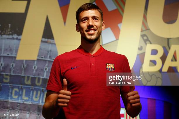 Barcelona´s new player French defender Clement Lenglet poses at the Camp Nou stadium in Barcelona on July 12 2018 Clement Lenglet will join up with...