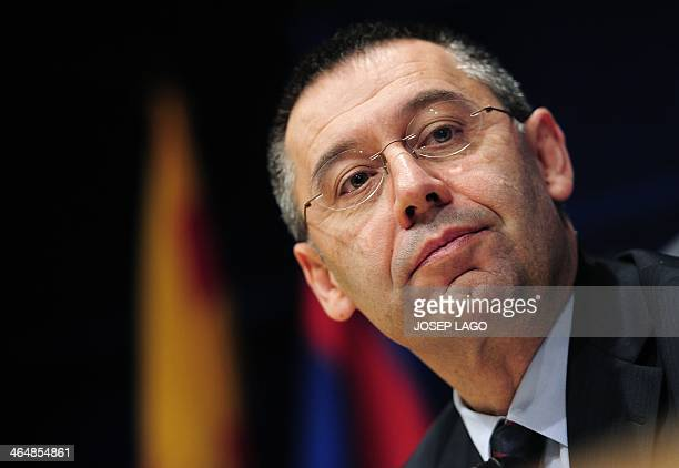 Barcelona's new president Josep Maria Bartomeu gives a press conference in Barcelona on January 24 2014 Former vice president Bartomeu took over the...