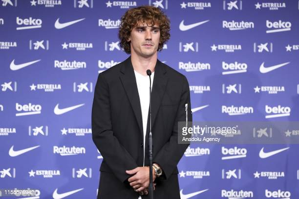 Barcelona's new sign French star Antoine Griezmann makes a speech during his presentation ceremony at the Camp Nou Stadium in Barcelona Spain on July...