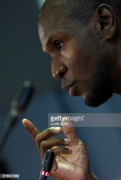 Barcelona's new technical secretary Eric Abidal gives a speech during his official presentation at the FC Barcelona Joan Gamper Sports Center in Sant...