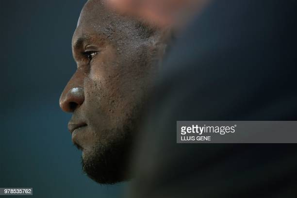 Barcelona's new technical secretary Eric Abidal looks on during his official presentation at the FC Barcelona Joan Gamper Sports Center in Sant Joan...