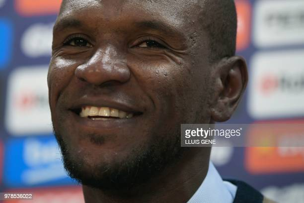 Barcelona's new technical secretary Eric Abidal smiles during his official presentation at the FC Barcelona Joan Gamper Sports Center in Sant Joan...