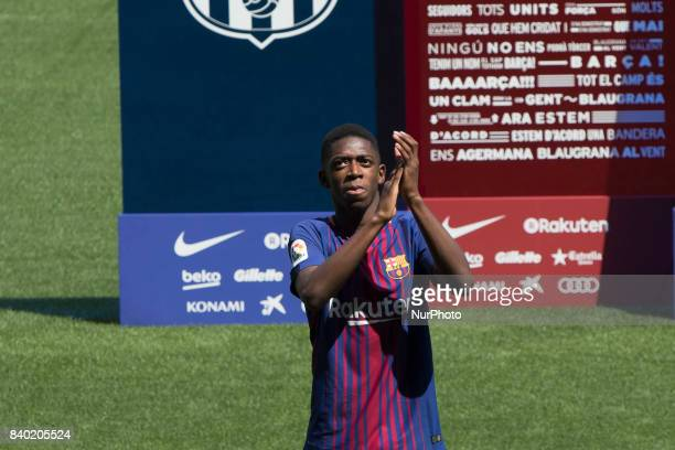 FC Barcelona's new transfer Ousmane Dembele attends his presentation at Camp Nou Stadium in Barcelona Spain on August 28 2017