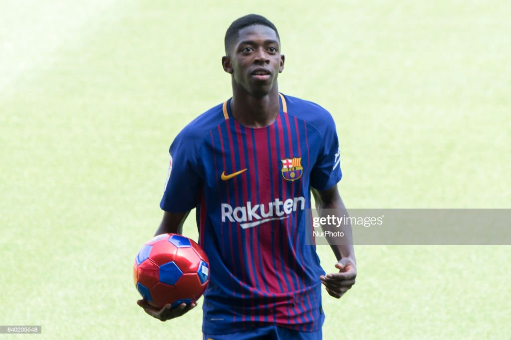 FC Barcelona's new transfer Ousmane Dembele attends his presentation at Camp Nou Stadium in Barcelona, Spain on August 28, 2017.