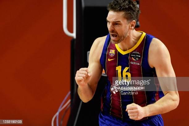 Barcelona's Pau Gasol celebrates during the Basketball Euroleague Final Four championship final match between FC Barcelona and Anadolu Efes Istanbul...