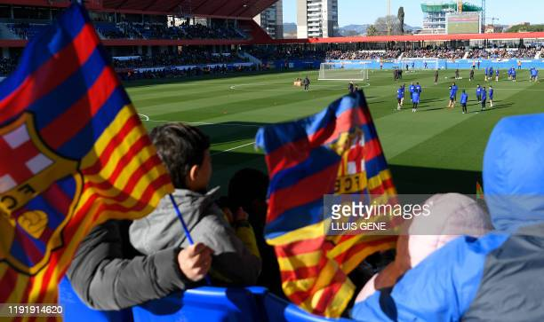 Barcelona's players attend a public training session at the Joan Gamper Sports City training ground in Sant Joan Despi on January 5, 2020.