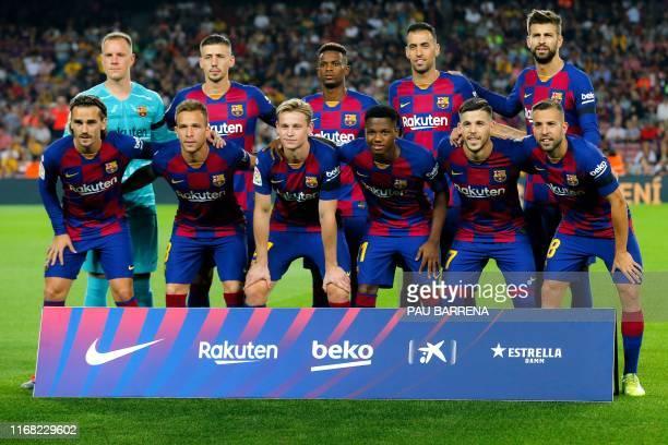 Barcelona´s players Barcelona's French forward Antoine Griezmann Barcelona's Brazilian midfielder Arthur Barcelona's Dutch midfielder Frenkie De Jong...