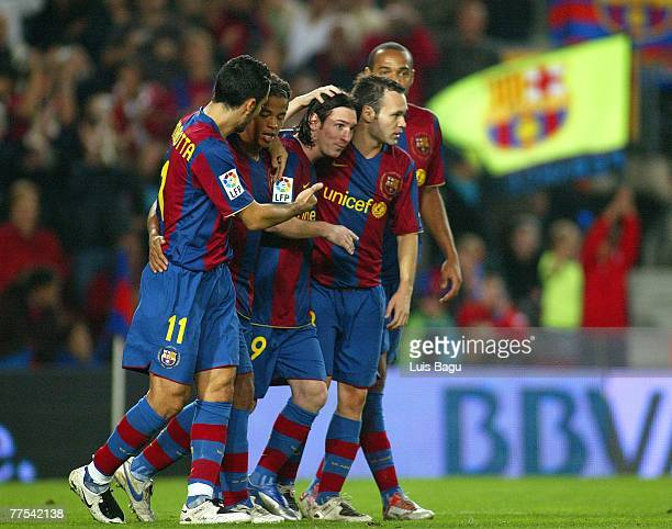 Barcelona's players cellebrating Messi's goal during the La Liga match between FC Barcelona and UD Almeria played at the Camp Nou stadium on October...