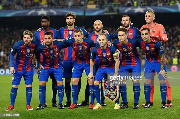 Barcelona's players French defender Samuel Umtiti Portuguese midfielder Andre Gomes Argentinian defender Javier Mascherano defender Aleix Vidal Dutch...