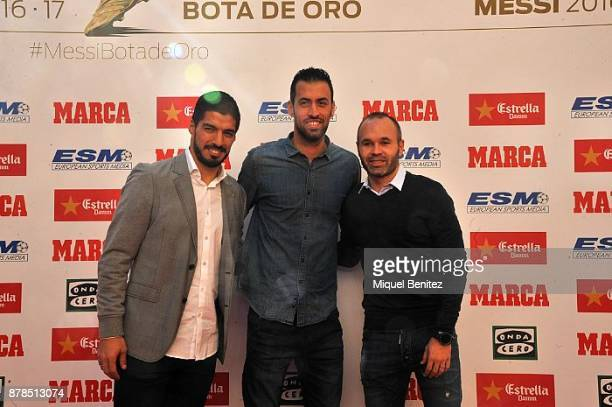 FC Barcelona's players Luis Suarez Sergio Busquets and Andres Iniesta attend the Golden Boot Gala 2017 at the L'Antiga Fabrica Damm on November 24...
