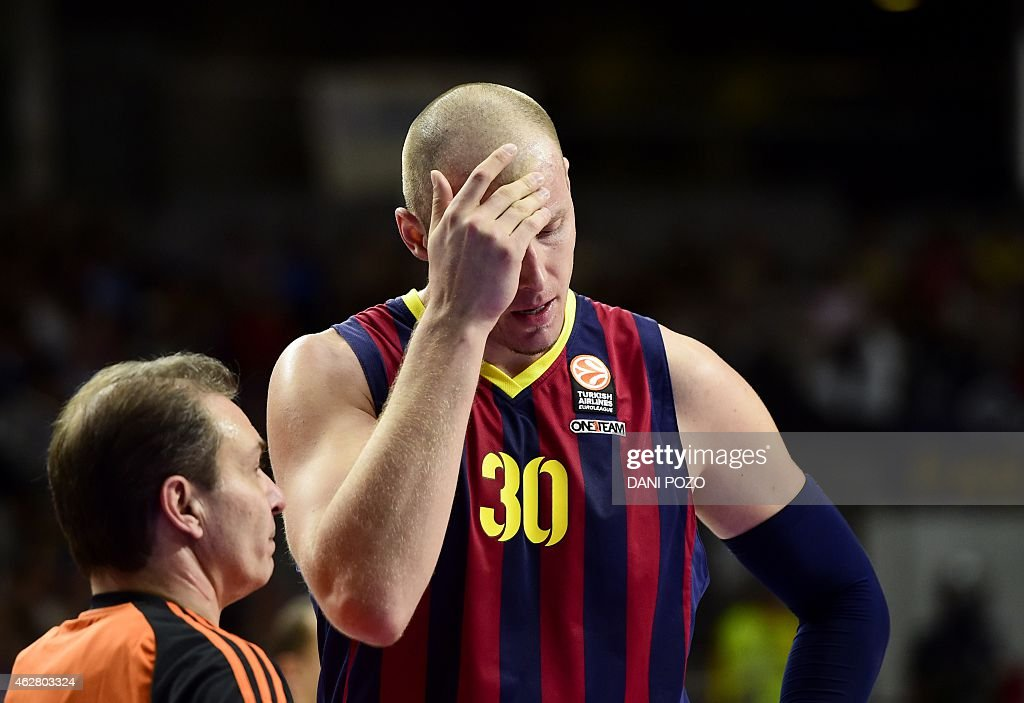 Good Barcelonau0027s Polish Centre Maciej Lampe Reacts During The Euroleague  Basketball Top 16 Round 6 Match Real