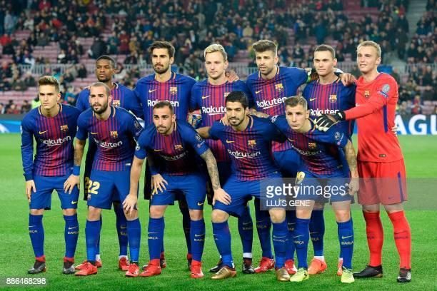 Barcelona's Portuguese defender Nelson Semedo Barcelona's Portuguese midfielder Andre Gomes Barcelona's Croatian midfielder Ivan Rakitic Barcelona's...