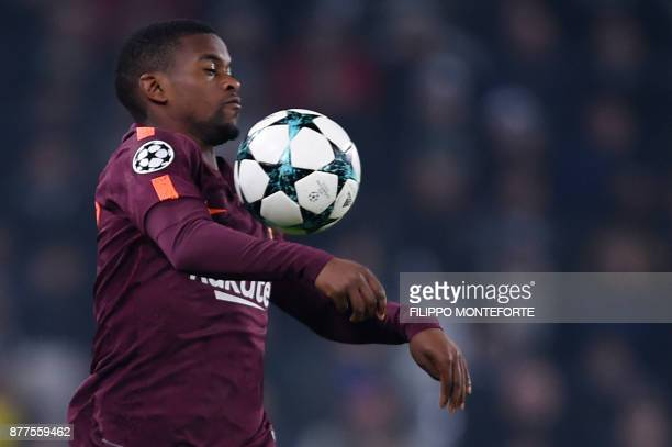 Barcelona's Portuguese defender Nelson Semedo controls the ball during the UEFA Champions League Group D football match Juventus Barcelona on...