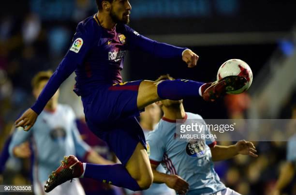Barcelona's Portuguese midfielder Andre Gomes kicks the ball during the Spanish Copa del Rey football match RC Celta de Vigo vs FC Barcelona at the...