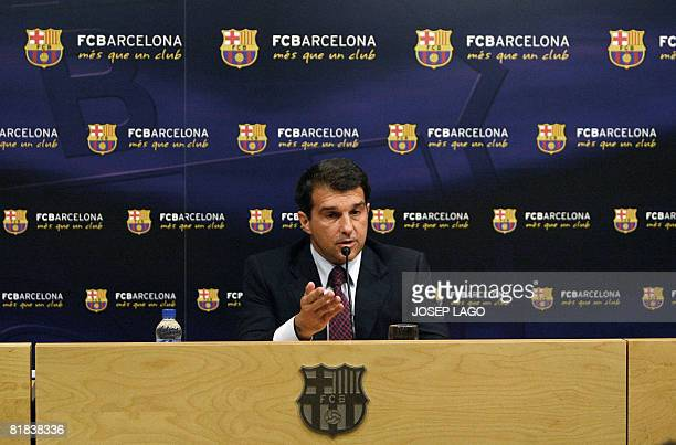 FC Barcelona's President Joan Laporta holds a news conference after the final result of a no confidence vote at the new Camp stadium in Barcelona on...