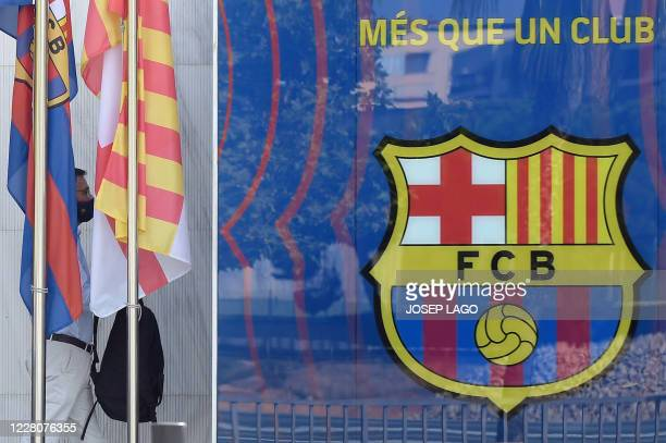 FC Barcelona's president Josep Maria Bartomeu arrives at the club's headquarters in Barcelona on August 17 2020 to chair an extraordinady board...